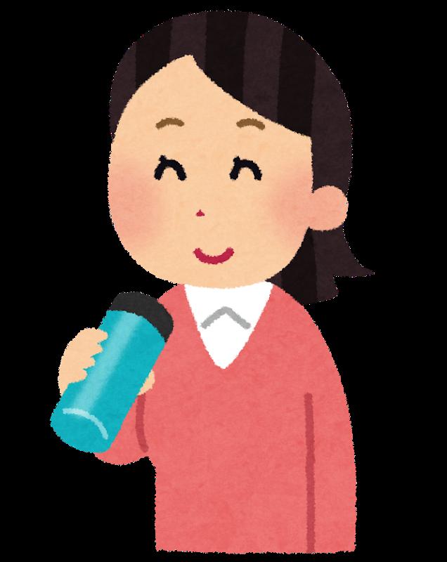 水筒で水分補給する女性