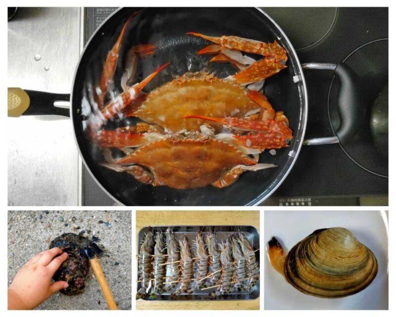 鍋の中のワタリガニと串打ちしたクルマエビと殻を割られる岩ガキ